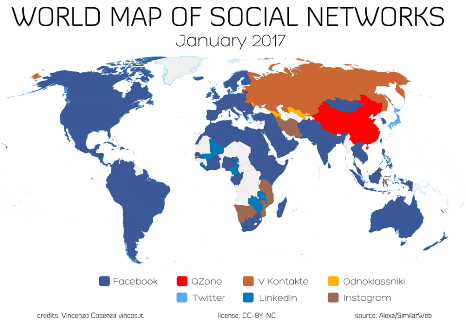 World Map Social Networks